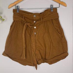 Zara Brown Paper-bag Waist Shorts XS